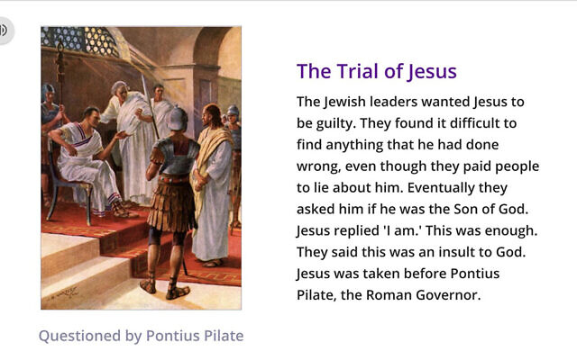 A slide from a homework assignment that blames Jews for Jesus' death. (Joanne Bell via Topmarks/Twitter/JTA))