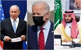 (From L-R) Prime Minister Benjamin Netanyahu, US President Joe Biden and Saudi Crown Prince Muhammad Bin Salman. (AP/collage)