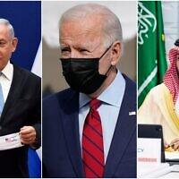 (From L-R) Prime Minister Benjamin Netanyahu, US President Joe Biden and Saudi Crown Prince Muhammad Bin Salman. (AP/collage)