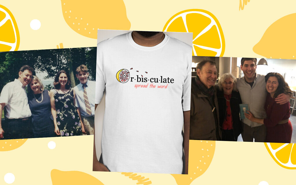 Photos of the Krieger family and a graphic t-shirt of the word 'orbisculate,' which Hilary and Jonathan Krieger are working to get into the dictionary in honor of their late father, Neil. (Courtesy)