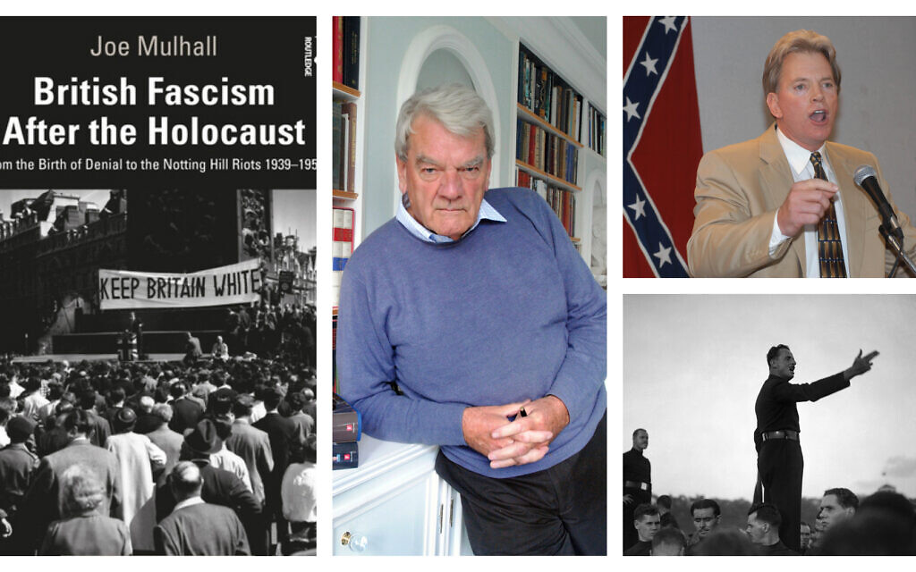 Left: 'British Fascism After the Holocaust,' by Dr. Joe Mulhall (Courtesy); Center: Holocaust denier David Irving (CC-BY-SA 3.0/ Allan Warren); Top right: Holocaust denier and former KKK leader David Duke (AP/Burt Steel); Bottom right: British fascist Oswald Mosley (AP photo/Bead)