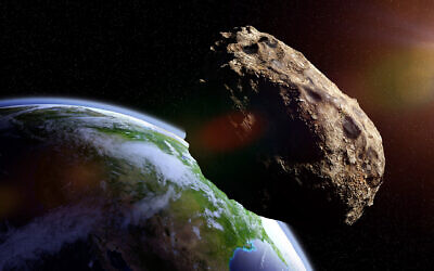 Illustrative: An asteroid falling toward planet Earth (dottedhippo; iStock by Getty Images)