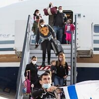 Immigrants from Brazil and Argentina arrive in Israel, March 1, 2021. (Avishag Shar Yashuv/IFCJ via JTA)