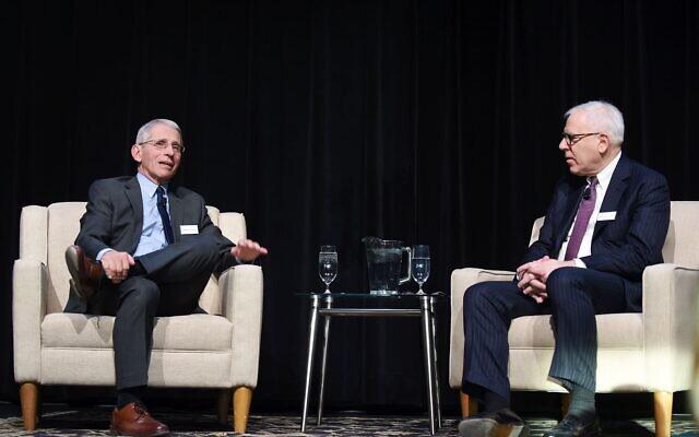 Dr. Anthony Fauci, left, speaks with author David Rubenstein. (Courtesy)