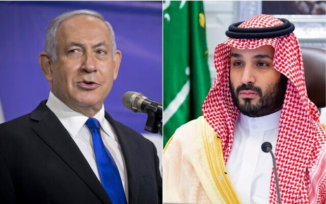 Left: Prime Minister Benjamin Netanyahu in Tel Aviv, March 8, 2021 (Miriam Alster/Pool via AP); Right: Saudi Arabia's Crown Prince Mohammed bin Salman attends a virtual G-20 summit held over video conferencing, in Riyadh, Saudi Arabia,  Nov. 22, 2020 (Bandar Aljaloud/Saudi Royal Palace via AP)