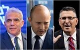 Left to right: Yesh Atid party leader Yair Lapid (Miriam Alster/Flash90); Yamina party chief Naftali Bennett; and New Hope party head Gideon Sa'ar (Yonatan Sindel/Flash90)