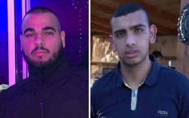 Muhammad Khatib (R) Leith Nasra (L) who were killed in Qalansawe on March 19, 2021. (Courtesy)