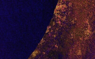 A satellite image of Israel and Gaza's southern Mediterranean coast taken by the EU's Sentinel 1 on February 12, 2021. (screen capture)