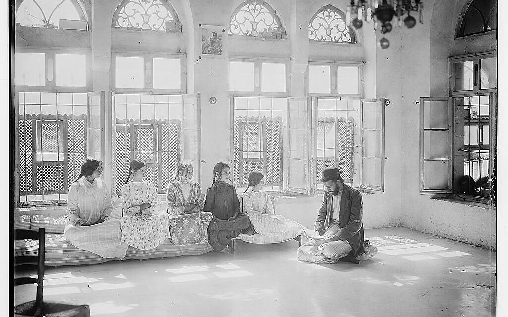 American Colony . Photo Department, photographer. The Samaritans of Nablus Shechhem. Samaritan school. Nablus West Bank Nablus, 1900. [Approximately to 1920] Photograph. https://www.loc.gov/item/2019693319/.