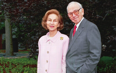 Carl J. and Ruth Shapiro (Mike Lovett/ Courtesy of Brandeis University via JTA)