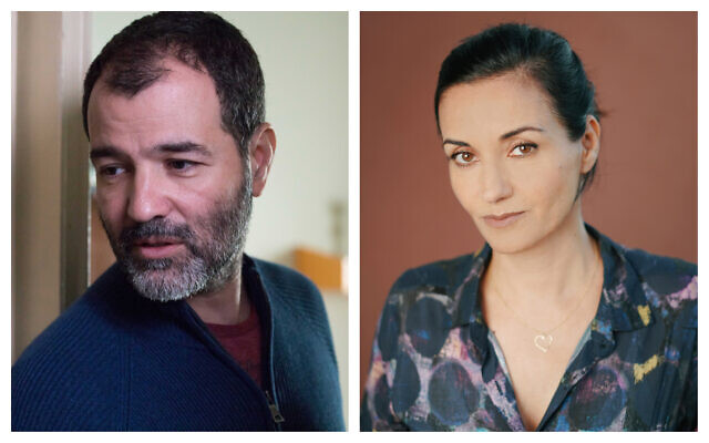 'Shtisel' director Alon Zingman, left (photo by Vered Adir) and producer Dikla Barkai, right (photo by Goni Riskin)
