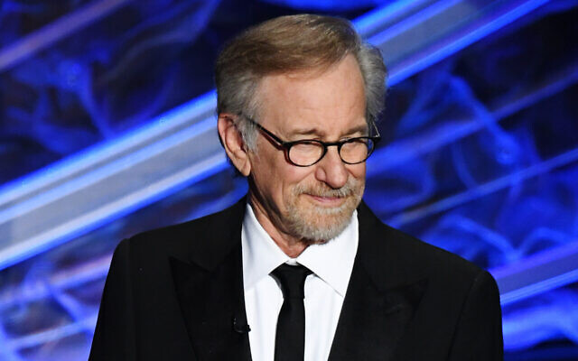 Director Steven Spielberg speaks at the Academy Awards in Hollywood, February 9, 2020. (Kevin Winter/Getty Images via JTA)