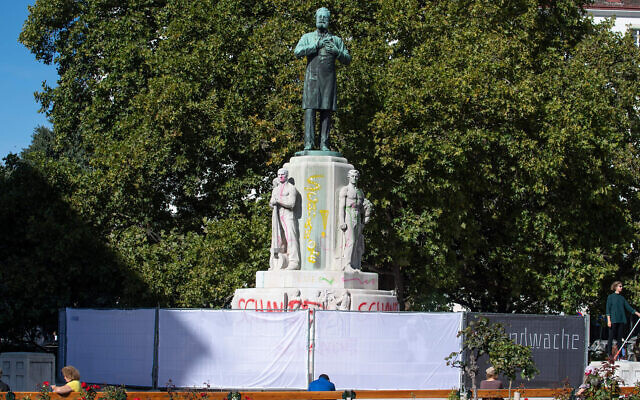 A fence in Vienna surrounds the statue of Karl Lueger, the anti-Semitic former mayor of the Austrian capital, October 6, 2020. (Joe Klamar/AFP via Getty Images/JTA)