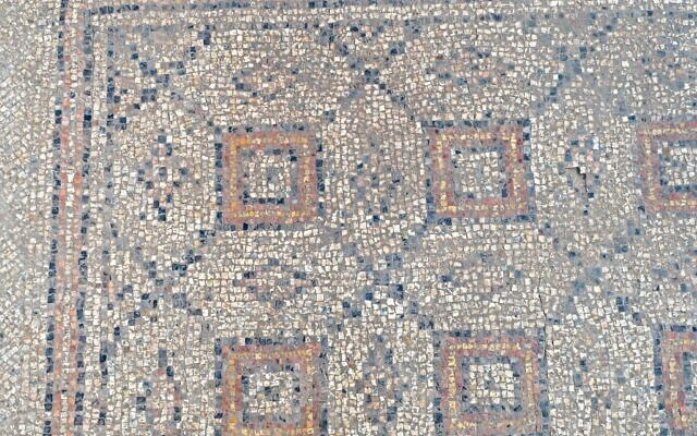 1,600-year-old mosaic uncovered during archaeological excavations in Yavne (Assaf Peretz/Israel Antiquities Authority)