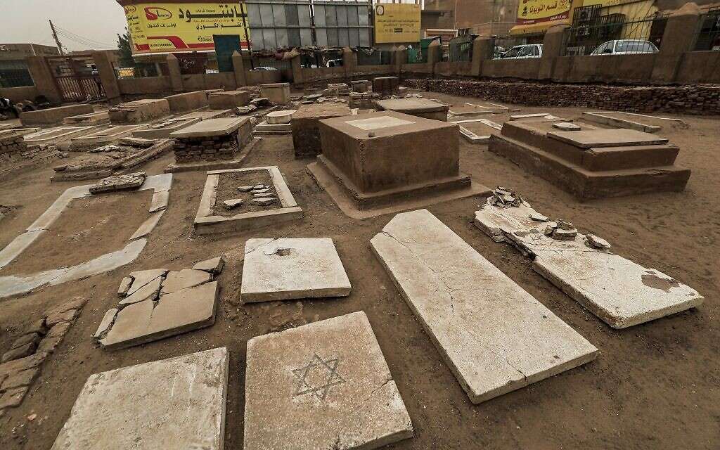 This picture taken on February 17, 2021 shows a view of grave markers at the 800-square-meter Jewish Cemetery in Sudan's capital Khartoum, west of al-Hurriya Street (in the city-center of the capital). (Photo by ASHRAF SHAZLY / AFP)