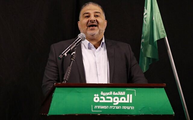 Mansour Abbas, head of Israel's conservative Islamic Raam party, speaks during a press conference in the northern city of Nazareth on April 1, 2021. (Ahmad GHARABLI / AFP)
