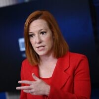 White House Press Secretary Jen Psaki holds a press briefing at the White House in Washington on April 12, 2021. (Brendan Smialowski/AFP)