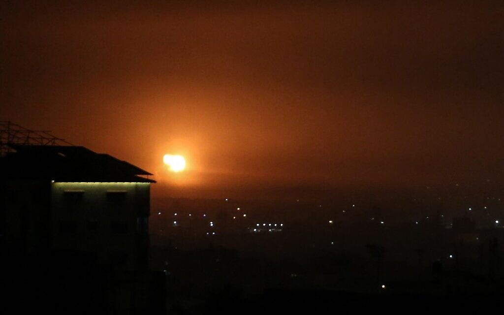 A picture taken in Rafah in the southern Gaza Strip, on April 16, 2021, shows an explosion following an airstrike by Israel, after Palestinian terrorists in the enclave fired a rocket into Israeli territory. (Said Khatib/AFP)
