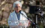 Liliana Segre speaks at a ceremony in Milan, Italy, honoring the rescuers of Jews during the Holocaust, March 5, 2021. (Alessandro Bremec/NurPhoto via Getty Images/JTA)