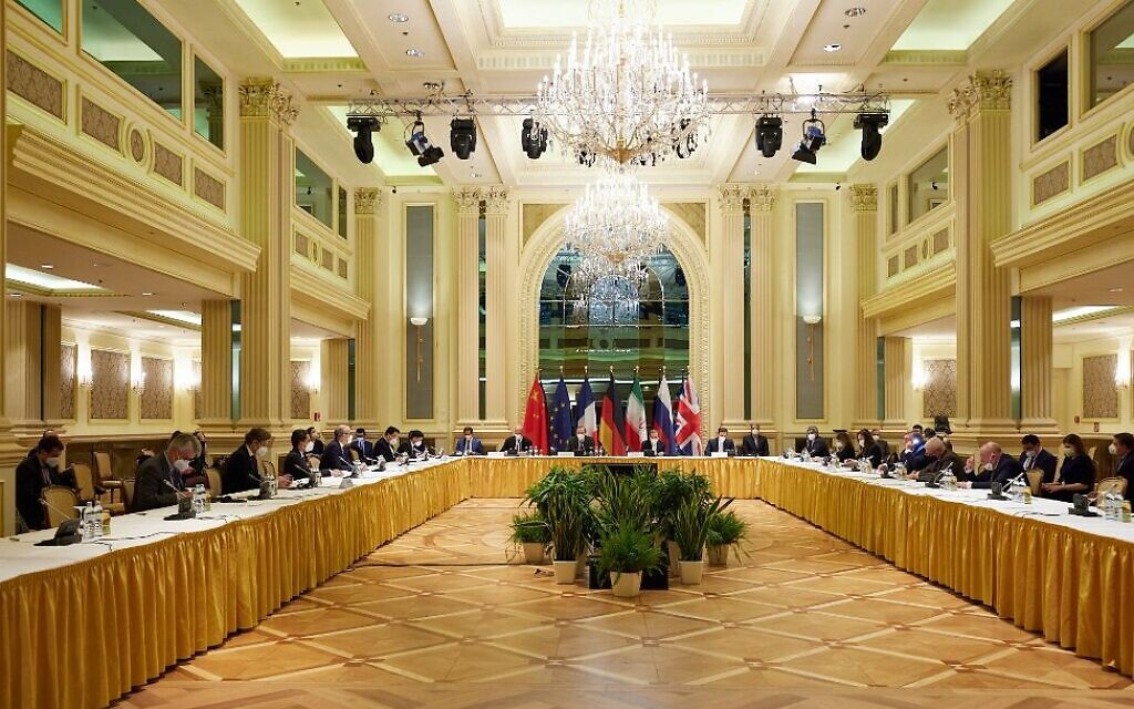 In this handout provided by the EU Delegation in Vienna, representatives of the European Union, Iran and others attend the Iran nuclear talks at the Grand Hotel in the Austrian capital, April 15, 2021. (EU Delegation in Vienna via Getty Images, JTA)
