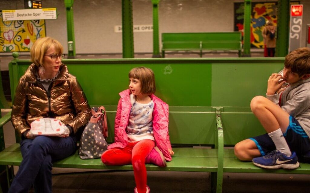 Laura Moser and her children on a train in Berlin, November 25, 2019. The family was exploring a move it would eventually make. (Courtesy of Moser/ via JTA)