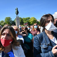 Some of the protesters at the Justice for Sarah Halimi rally in Paris, April 25, 2021. (Cnaan Liphshiz/ JTA)