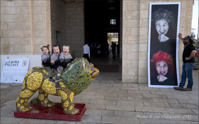 Photographic portraits of Holocaust survivors, part of The Lonka Project exhibit in Safra Square in Jerusalem, opening April 8, 2021, Yom HaShaoh, Heroes and Martyrs Remembrance Day (Courtesy The Lonka Project)