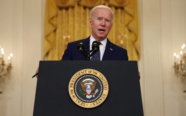 US President Joe Biden announces new economic sanctions against the Russia government, at the White House in Washington, on April 15, 2021. (Chip Somodevilla/Getty Images/AFP)