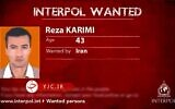 A photo aired by Iranian state television shows Reza Karimi in an Interpol-style 'wanted' poster. Tehran says Karimi was behind the sabotage at Natanz on April 11 that it has blamed on Israel (vide screenshot)