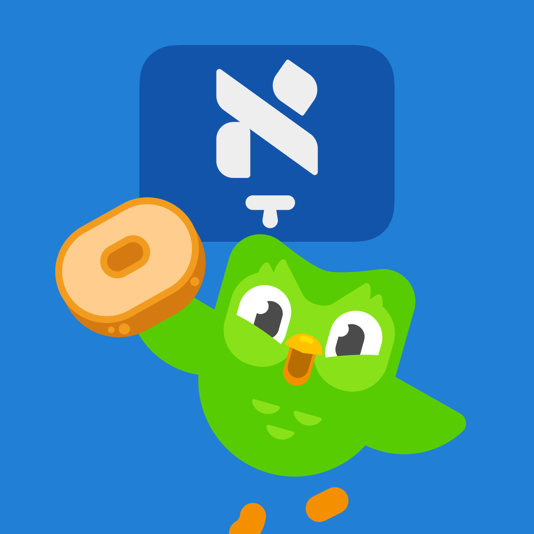 Duolingo's 'flag' for the Yiddish course showcases an aleph with a 'komets' diacritic, a foundational Yiddish vowel. (Duolingo)