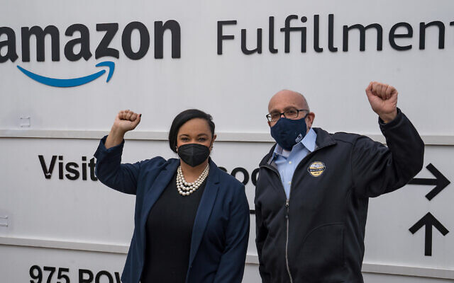 Rep. Nikema Williams of Georgia and RWDSU President Stuart Appelbaum visit the Amazon Fulfillment Center in Birmingham, Alabama, after meeting with workers and organizers involved in the facility's unionization effort, March 5, 2021. (Megan Varner/Getty Images/JTA)