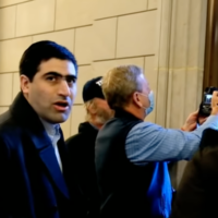 Elliot Resnick, the editor-in-chief of the Jewish Press, among the Capitol rioters on January 6, 2021. (Screen capture: YouTube)