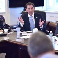 New York City Council Member Chaim Deutsch shown at a Budget Negotiating Team meeting in 2018. (John McCarten/New York City Council, via JTA)