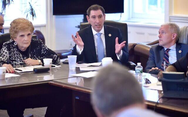 New York City Council Member Chaim Deutsch shown at a Budget Negotiating Team meeting in 2018. (John McCarten/New York City Council, via JTA)