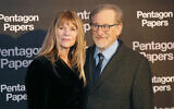 Steven Spielberg, right, and his wife Kate Capshaw pose for photographers on arrival at the French premiere of the film 'The Post' in Paris, France, January 13, 2018. (AP Photo/Michel Euler)