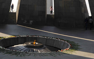 A view inside the Tzitzernakaberd memorial to the victims of mass killings by Ottoman Turks, in the Armenian capital Yerevan, Armenia, Oct. 30, 2019  (AP Photo/Hakob Berberyan)