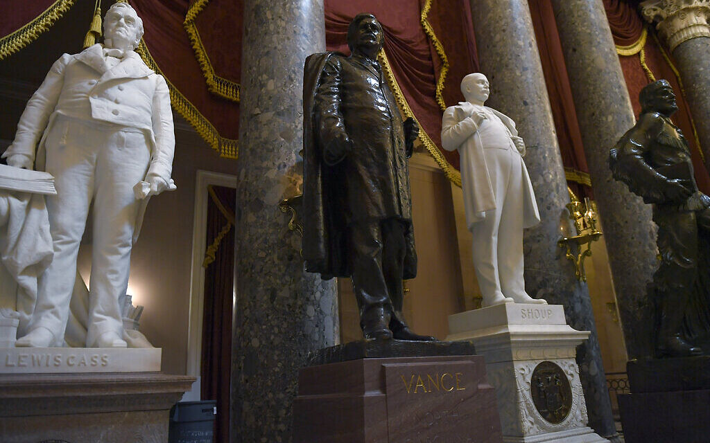 A statue of Zebulon Vance of North Carolina is on display in Statuary Hall on Capitol Hill in Washington, June 11, 2020. (AP Photo/Susan Walsh)