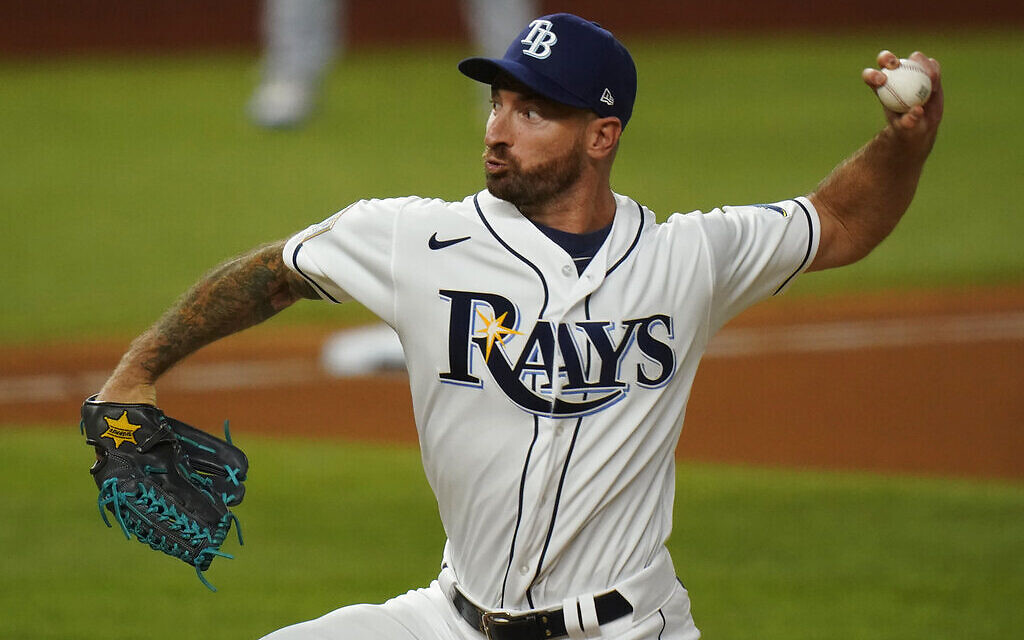 Tampa Bay Rays relief pitcher Ryan Sherriff throws against the Los Angeles Dodgers during the seventh inning in Game 3 of the baseball World Series, October 23, 2020, in Arlington, Texas. (AP Photo/Eric Gay)