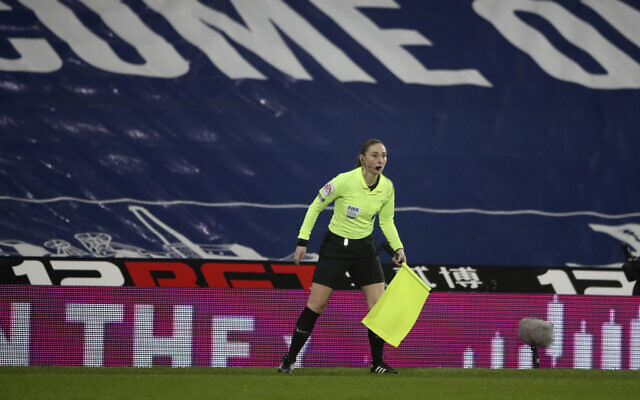 Assistant referee Sian Massey-Ellis during the English Premier League soccer match between West Bromwich Albion and Manchester City at the Hawthorns stadium in West Bromwich, England, January 26, 2021. (Nick Potts/Pool via AP)