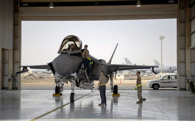 Illustrative: An F-35 fighter jet pilot and crew prepare for a mission at Al-Dhafra Air Base in the United Arab Emirates, August 5, 2019.  (Staff Sgt. Chris Thornbury/US Air Force via AP)