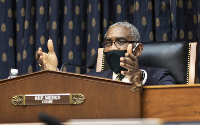 Rep. Gregory Meeks, D-N.Y., speaks during the House Committee on Foreign Affairs hearing on the administration foreign policy priorities on Capitol Hill on Wednesday, March 10, 2021, in Washington. (Ting Shen/Pool via AP)