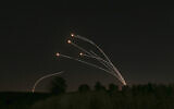 The Israeli air defense system, Iron Dome, takes out rockets fired from Gaza near Sderot, Israel, on May 4, 2019. (AP Photo/ Ariel Schalit, File)