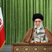 FILE: Iranian supreme leader Ayatollah Ali Khamenei addresses the nation in a televised speech marking the Iranian New Year, in Tehran, Iran, Sunday, March 21, 2021. (Office of the Iranian supreme leader via AP)