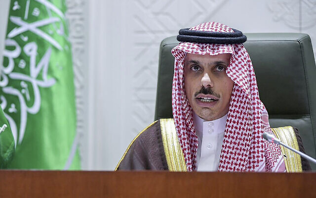 In this photo provided by the Saudi Press Agency, Saudi Foreign Minister Prince Faisal bin Farhan speaks during a news conference in Riyadh, Saudi Arabia, Monday, March 22, 2021. (SPA via AP)