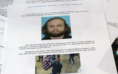 A statement of facts document presented to the United States District Court in the case against Garret Miller is photographed on Monday, March 29, 2021 (AP Photo/Jon Elswick)