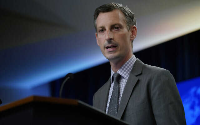 US State Department spokesman Ned Price speaks at the State Department in Washington, March 31, 2021. (AP Photo/Carolyn Kaster, Pool)