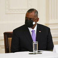 Secretary of Defense Lloyd Austin attends a Cabinet meeting with President Joe Biden in the East Room of the White House, Thursday, April 1, 2021, in Washington. (AP/Evan Vucci)