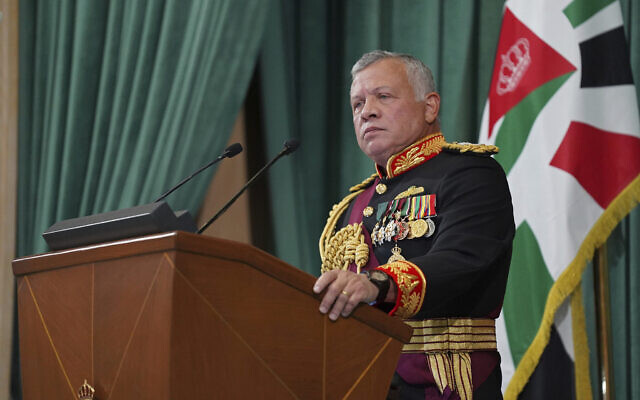 In this Dec. 10, 2020,  photo released by the Royal Hashemite Court, Jordan's King Abdullah II gives a speech during the inauguration of the 19th Parliament's non-ordinary session, in Amman, Jordan. (Yousef Allan/The Royal Hashemite Court via AP, File)