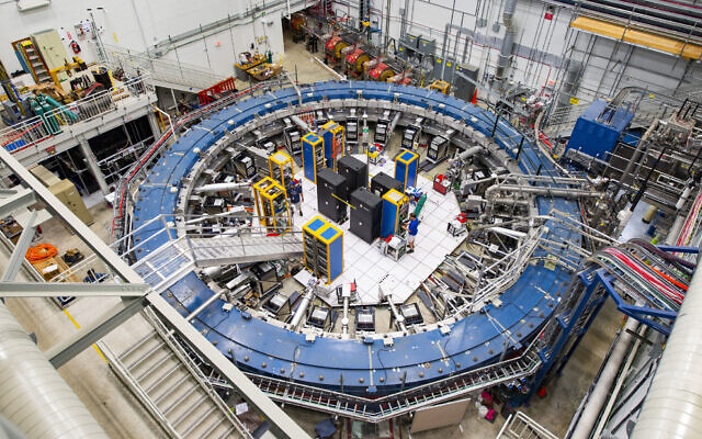 This August 2017 photo made available by Fermilab shows the Muon g-2 ring at the Fermi National Accelerator Laboratory outside of Chicago. (Reidar Hahn/Fermilab via AP)