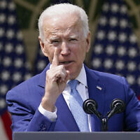US President Joe Biden gestures as he speaks about gun violence prevention in the Rose Garden at the White House, Thursday, April 8, 2021, in Washington. (AP Photo/Andrew Harnik)